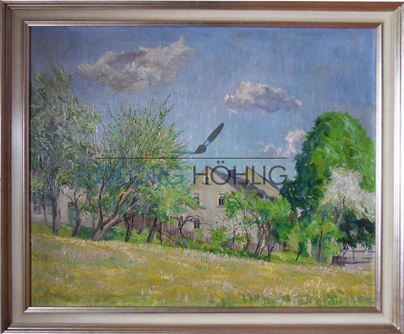 Gemälde Waschleithe im Frühling von Georg Höhlig