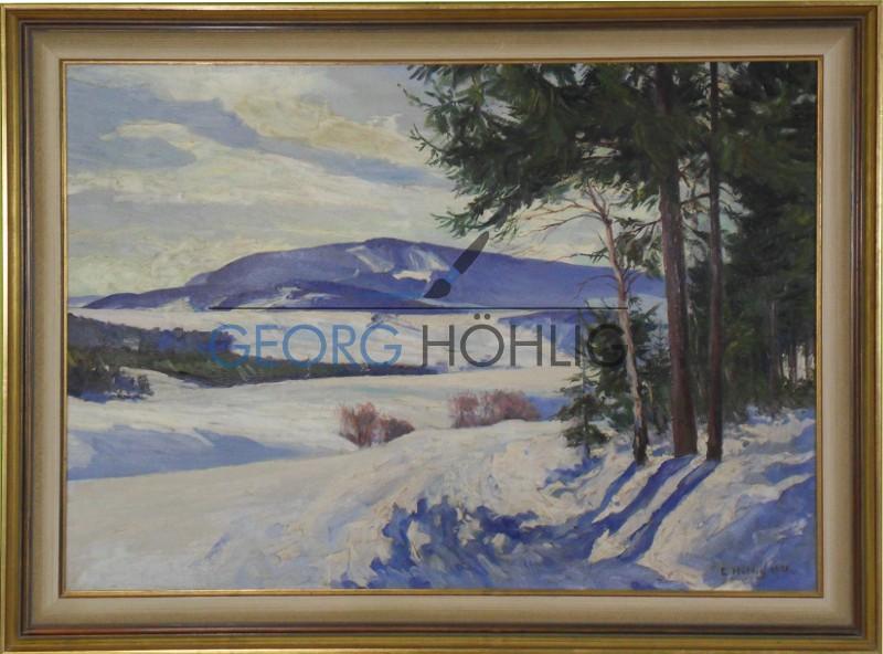 Gemälde Hundsmarter im Winter von Georg Höhlig