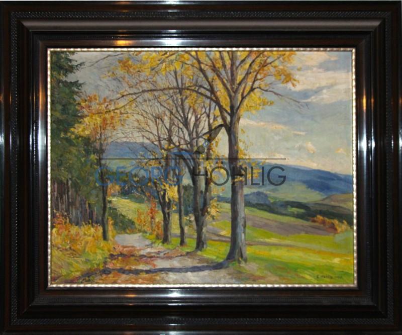Gemälde Waschleithe Beierfeld im Herbst von Georg Höhlig