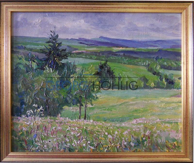 Gemälde Waschleithe Blick Fichtelberg von Georg Höhlig