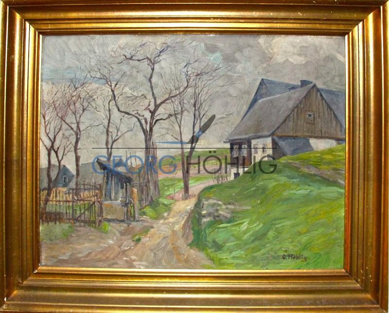 Gemälde Waschleithe Fachwerkhaus von Georg Höhlig