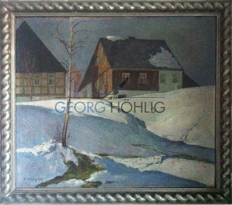 Gemälde Waschleithe Winter von Georg Höhlig