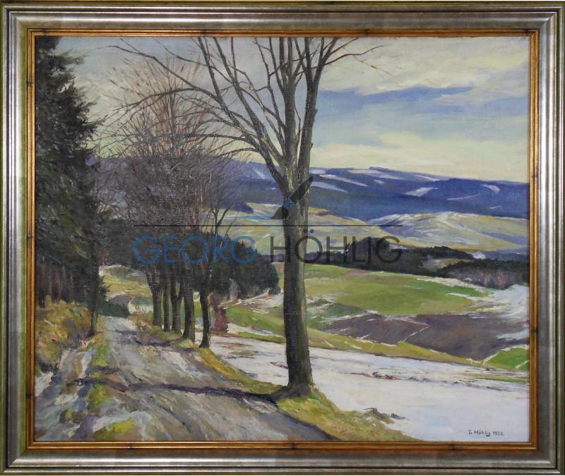 Gemälde bei Waschleithe Blick Fürstenberg von Georg Höhlig